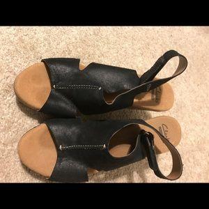 Clarks black strap wedge sandal